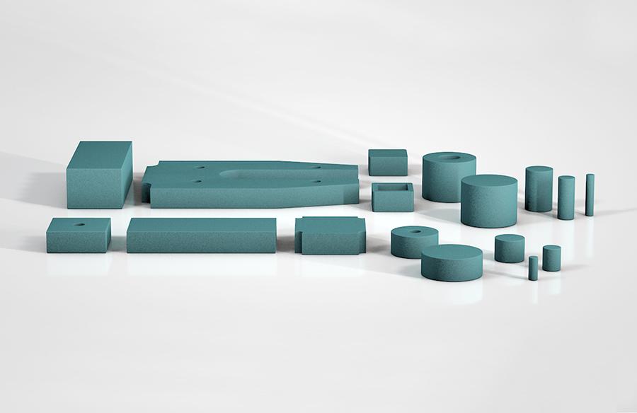 SLAB, planchas de amortiguación, de tamaño compacto y desaceleración suave.
